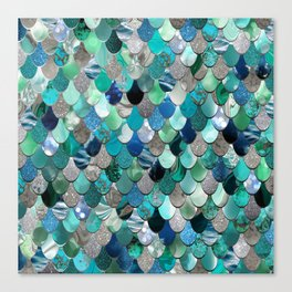 Mermaid Scales, Teal, Green, Aqua, Blue Canvas Print