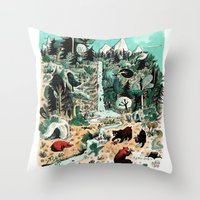 canada Throw Pillows featuring Wild Canada by Mathilde George
