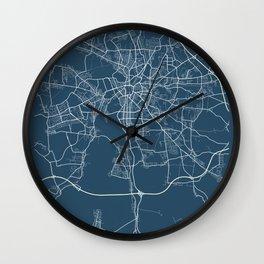 Leipzig Blueprint Street Map, Leipzig Colour Map Prints Wall Clock