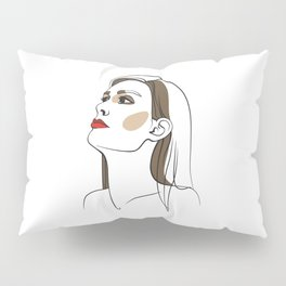 Woman with long hair and red lipstick. Abstract face. Fashion illustration Pillow Sham