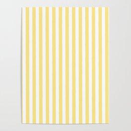 Modern geometrical baby yellow white stripes pattern Poster