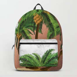 Cartoon island with palms on marble Backpack