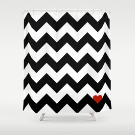 Heart & Chevron - Black/Classic Red Shower Curtain