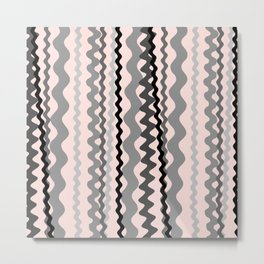 Black and Grey hand drawn vertical stripes on pink - Mix & Match with Simplicity of Life Metal Print