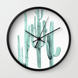 Cactus Trio Turquoise by Nature Magick Wall Clock