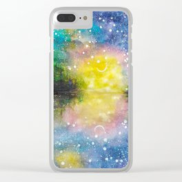Crescent Moon Reflection Galaxy watercolor by CheyAnne Sexton Clear iPhone Case