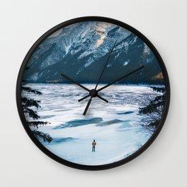Winter at Lake Minnewanka Wall Clock