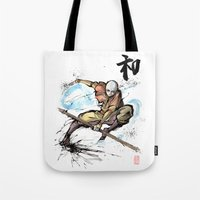 avatar the last airbender Tote Bags featuring Aang from Avatar the Last Airbender sumi/watercolor by mycks