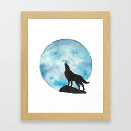 Howl at the Moon blue Framed Art Print