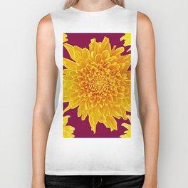 Golden Yellow Chrysanthemums Burgungy Art Design Biker Tank