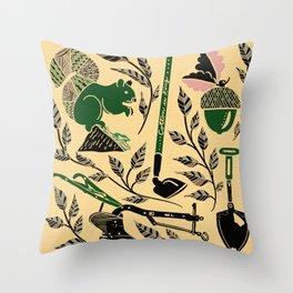 Farm Harvest Silhouette Green/Pink Throw Pillow