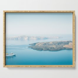 Beautiful landscape with sea view. Cruise liner at the sea near the Nea Kameni, a small Greek island Serving Tray