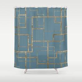 Blueprint Geometric Pattern 1 Shower Curtain