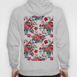 Bohemian pink green hand painted floral feathers pattern Hoody