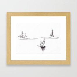 Lonely fish boat Framed Art Print