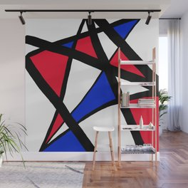Geometric Red, White, and Blue Stars Abstract Wall Mural