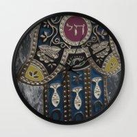 jewish Wall Clocks featuring Jewish Hamsa by Debra Slonim Art & Design