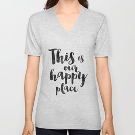 OUR HAPPY PLACE, This Is My Happy Place,Living Room Decor,Home Decor,Home Gifts,Home Sign,Bedroom De Unisex V-Neck