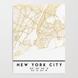 NEW YORK CITY NEW YORK CITY STREET MAP ART Poster