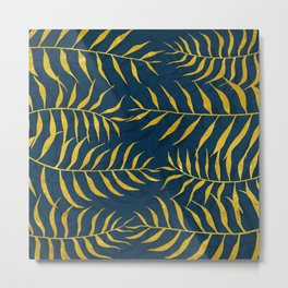 Golden Palm tree blue Metal Print