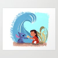 lilo and stitch Art Prints featuring Lilo & Stitch by Orelly