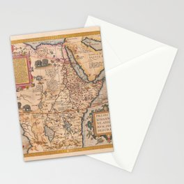 Vintage Map Print - Ortelius - 1574 Map of Central Africa including Prester John Stationery Cards