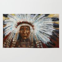 native american Area & Throw Rugs featuring Native American by Mary J. Welty