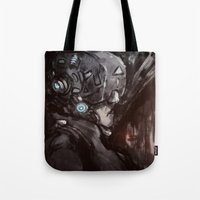 cyberpunk Tote Bags featuring Cyberpunk 001  by Thecansone