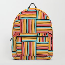 striped cubes weave Backpack