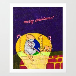 Christmas Otters Art Print
