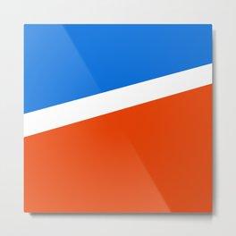 Retro 70s French Flag Colors Vintage Red White Blue Geometric Metal Print