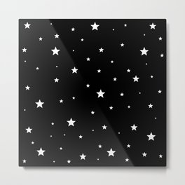 Scattered Stars - white on black Metal Print