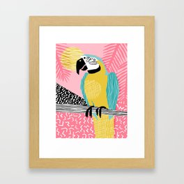 Holy Moly - memphis throwback retro neon bird macaw tropical island pop art bird watching 1980s Framed Art Print