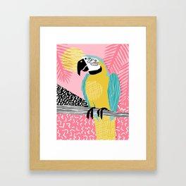 Holy Moly - memphis throwback retro neon bird macaw tropical island pop art bird watching 1980s Framed Art Print