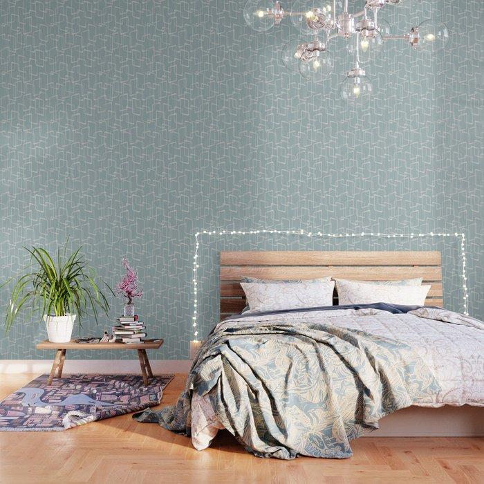 Mid Century Dusty Blue Gray Geometric Pattern Wallpaper By Itsjensworld