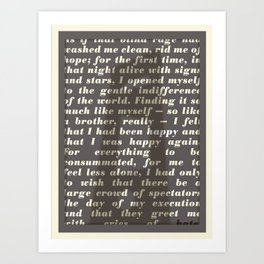 Literary Quote Poster — The Stranger by Albert Camus Art Print