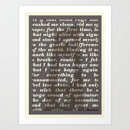 Literary Quote Poster — The Stranger by Albert Camus Art Print