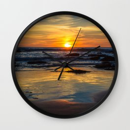 Sunset on Whipsiderry Beach Wall Clock