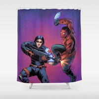 winter soldier Shower Curtains featuring Winter Soldier vs. Red Hood by J Skipper