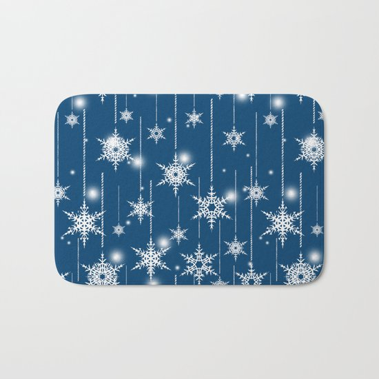 Christmas pattern. White snowflakes on a blue background. Bath Mat