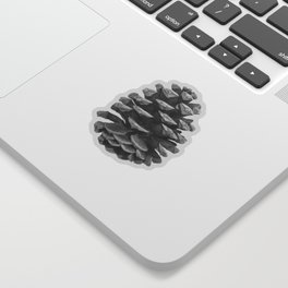 Monochrome Pine Cones Winter Blue Sticker