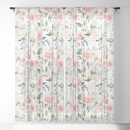 Sunny Floral Pastel Pink Watercolor Flower Pattern Sheer Curtain