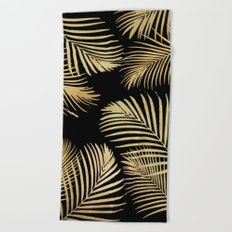 Gold Palm Leaves on Black Beach Towel