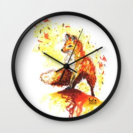 Illustration Renard Automne Orange - Autumn Fox de Lucille Bertrand Wall Clock