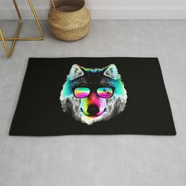 Wolf Rainbow Sunglasses Rug