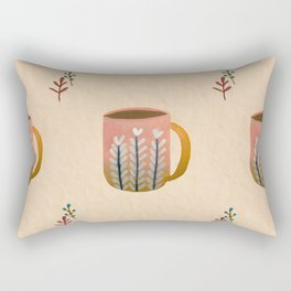 Hand Painted Cozy Up Cup  Rectangular Pillow