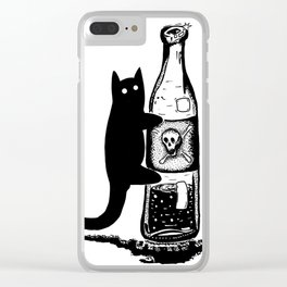 Cat and bottle Clear iPhone Case