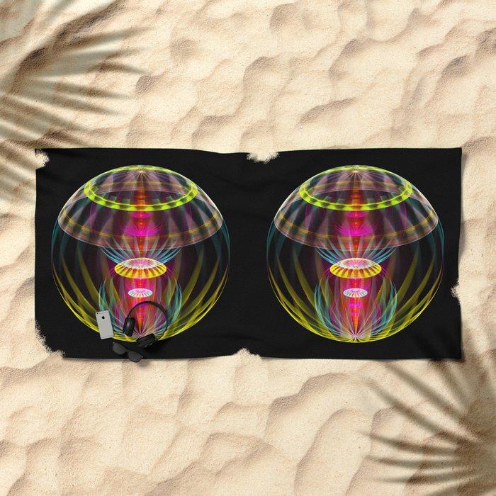 Alien sphere fractal fantasy Beach Towel