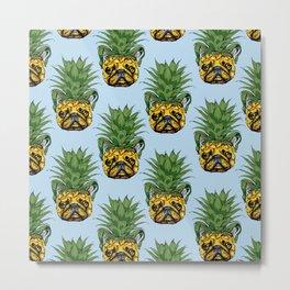 Pineapple French Bulldog Metal Print