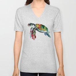 Sea Turtle Olive green, Sage green, Purple Turtle artwork Unisex V-Neck